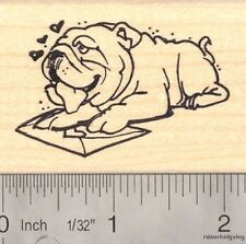 Bulldog Valentine Rubber Stamp G15705 WM Heart, love