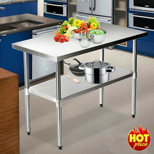 Stainless Steel Commercial Catering Table Work Bench Food Prep Worktop Kitchen