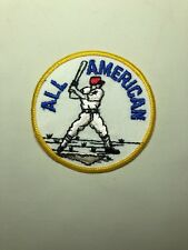 """Vintage Baseball Player Patch """"ALL AMERICAN"""" Round 3"""" Sew On"""