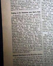 LOUIS DAVID RIEL Canada Manitoba Metis Leader HANGING Execution 1885 Newspaper