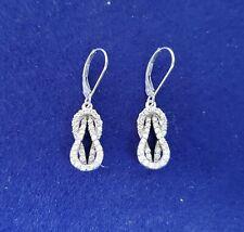 LOVE KNOT DANGLING Drop Diamond Earrings - .75cttw - 14K White Gold gift mom