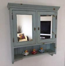 Rustic Shabby Chic Blue Mirror Wall Storage Pine Bathroom Cabinet With Shelf
