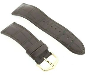 Hirsch 22mm Duke Lug Brown Embossed Leather Watch Strap & Gold Coloured Buckle