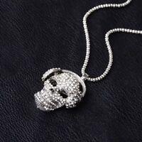 Skull Style Jewelry Sweater Chain Necklace Rhinestone Pendant Women Gift Pop