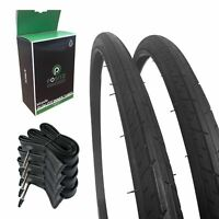 Positz Value Pack 2x Road Bike Performance Tyres and 4x Inner Tubes 700 x 25mm