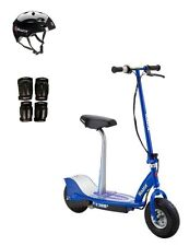 Razor E300S Seated Electric Scooter (Blue) with Helmet, Elbow & Knee Pads