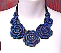 BLUE ROSE iridescent sparkle necklace rose flower rockabilly choker gothic D5