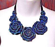 BLUE ROSE iridescent sparkle necklace rose flower rockabilly choker gothic D5