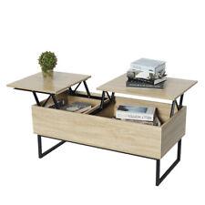 Tea Table Coffee Desk Adjustable Lift Top Storage Shelf Home Furniture Wood