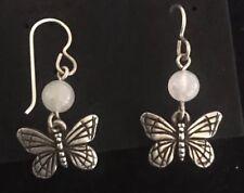 Vintage Pink Rose Quartz Pewter Butterfly Earrings Hooks