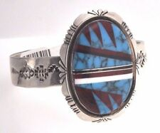 Navajo Sterling Silver and Turquoise cuff Bracelet Native American Signed NEZ