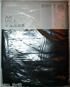 "IKEA Sarita Sheer Black Curtain Panels Twin Pack 57"" x 98"" Hem Tape Missing"