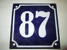 Hausnummer Emaille Nr. 87 gewölbt weisse Zahl auf blauem Hintergrund 12cm x12cm