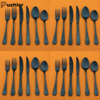 24pcs Matte Black Flatware Silverware Set Stainless Steel Fork Spoon Cutlery