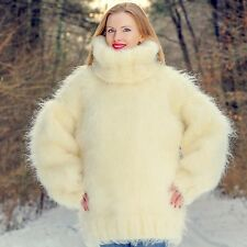 Mega thick hand knitted fuzzy mohair sweater ivory heavy jumper SUPERTANYA