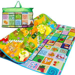 200X180CM KIDS CRAWLING 2 SIDE PLAY MAT EDUCATIONAL GAME SOFT FOAM PICNIC CARPET