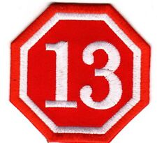 LUCKY 13 NUMBER THIRTEEN EMBROIDERED IRON-ON PATCH 1%r outlaw biker nostalgia