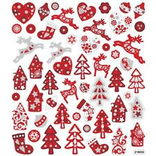 Self Adhesive Scandinavian Red/White Christmas Glitter Stickers Card Decorations