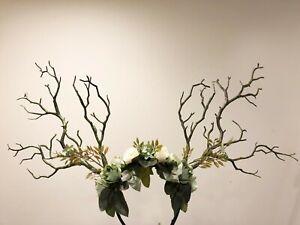 Black Branch Horn Demon Nymph Horn Headdress Antlers green flowers Costume