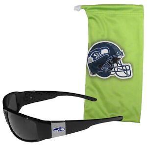 NFL SEATTLE SEAHAWKS DESIGNER SUNGLASSES AND BAG SET MICROFIBER BAG NEW