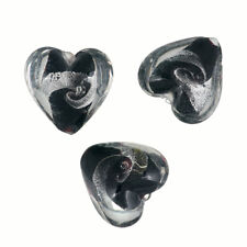 Lampwork Glass Silver Lined Black Foil Heart Beads 20mm Pack of 3 (R20/8)
