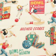 Alexander Henry BOWL FOR HEALTH 50s inspired Ten Pin Bowling Fabric - Tea