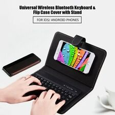 Wireless Bluetooth Keyboard Case Leather Stand Cover for IPhone Android Phones