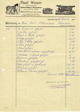 Rechnung von Schmiedemeister Weser Bärenstein Hufbeschlag Wagenbau 1956