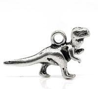 50 New Silver Tone Dinosaur Charms Pendants 22x12mm