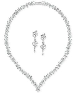 Swarovski Diapason Silver Size 15.5 inches Necklace and Earrings Set 5142738