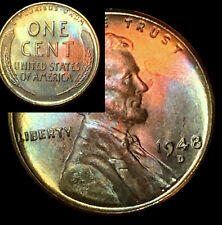UNCIRCULATED 1948 D BU (52f) VIBRANT Rainbow MONSTER Toned Penny Wheat Cent