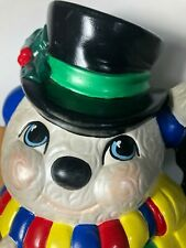 "Vintage Ceramic Snowman with Broom, Lamp Post & Bird Mold 12"" Tall Light Up"