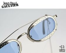 Jean Paul Gaultier 56-7116, 90s Vintage clip on steampunk oval sunglasses