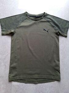 """Puma Boys evostripe khaki green tshirt age 9-10 """"Keeps You Dry"""" good condition"""