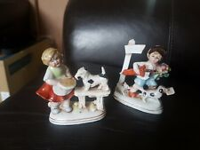 Vintage Continental Figurine Boy and girl with Dog  Marked Foreign