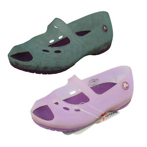 Girls Crocs colour Changing Slip On Flat PeepToe Summer Shoe Chmln Carlie Flt G