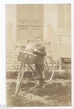 BM616 Carte Photo vintage card RPPC Enfant jeux jouets anciens vélo panier