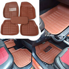 US 5pc Universal Car Floor Mats FloorLiner Front + Rear Carpet All Weather Brown