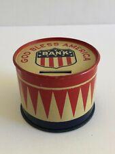 """Vintage July 4Th Patriotic Metal """"God Bless America"""" Drum Bank!"""