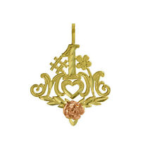14K Solid Yellow Gold #1 MOM Rose Talking Charm Pendant