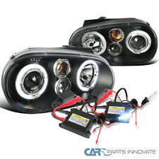 99-06 VW Golf Mk4 GTI R32 Cabrio Black Halo Projector Headlight+H1 6000K HID Kit