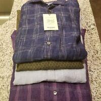 Men's MURANO Baird McNutt Linen L/S Slim Shirt M L XL Navy Olive Blue Purple