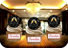 Happy Anniversary Black Balloon Champagne 12 Edible STANDUP Cake Toppers Party