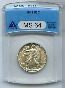 1943-P Walking Liberty Half Dollar ANACS MS64 Certified - Philadelphia - RC534