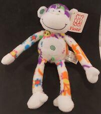 "Fiesta Monkey Plush Stuffed Animal 10"" Flowers Peace signs"