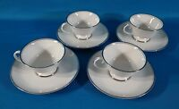 Flintridge China Bon Lite Mirador (Rim) Coffee Cup & Saucer Set of 4