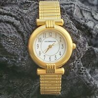 Liz Claiborne Womens Stretch Band Japan Movement Stainless Steel Watch Gold Tone