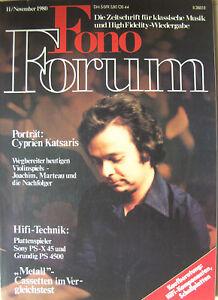Fono Forum 11/80 Grundig PS4500, Sony PS-X 45, Harman/Kardon HK 725 / HK 770