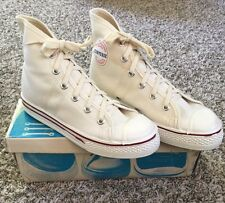Vtg Deadstock Converse All Star High Tops Ivory Shoe Blue Label Sz 3 Make In USA