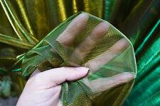 M07 Green Gold Metallic Iridescent 2 Tones Stretch Mesh Net Fabric Material